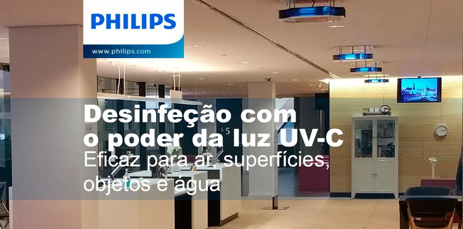 Luminárias de desinfeção por UV-C da Philips